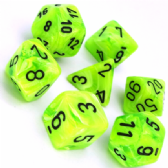 Bright Green & Black Vortex Polyhedral 7 Dice Set